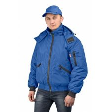 """Куртка мужская """"Бомбер"""" демисезонная тк.Джордан т.синяя (с капюшоном)"""