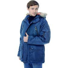 """Куртка удлинённая мужская """"Аляска"""" зимняя. т-синяя"""