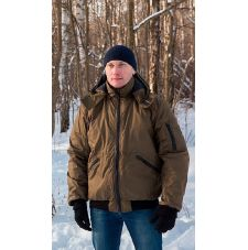 "Куртка мужская ""Бомбер"" демисезонная тк.Дюспа хаки (с капюшоном)"