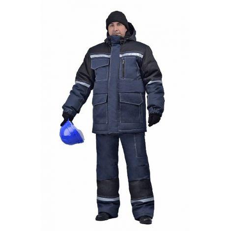 """Костюм мужской """"Инженер"""" (Термофайбер) зимний т-синий с черным (Амулет)"""