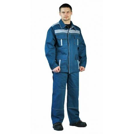 """Костюм мужской """"Актуал"""" летний с брюками бирюзовый с серо-голубым 100% хлопок"""