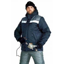 """Куртка мужская """"Эребус"""" зимняя т-синяя с серым"""