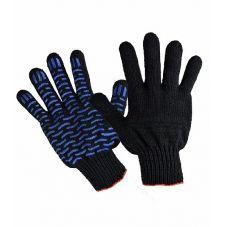 Перчатки х/б Люкс ПВХ-Волна черные 7,5кл