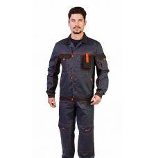 """Костюм мужской рабочий """"Профи"""" летний куртка, п/к т.серый с чёрным тк. Смесовая"""