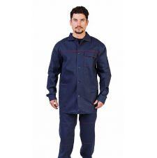 """Костюм мужской """"Труд"""" летний куртка, брюки т-синий с красным кантом 100% хлопок"""