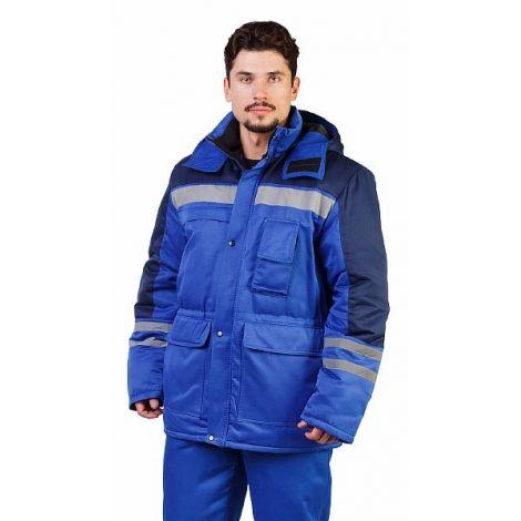 """Костюм мужской зимний """"Сибиряк"""" куртка, брюки васильковый с темно-синим и СОП"""