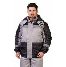 """Костюм мужской """"Спектр"""" зимний куртка, п/к св-серый с черным и СОП"""