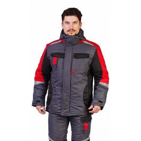 """Костюм мужской """"Мега"""" зимний куртка, п/к серый с черным, красным и СОП"""