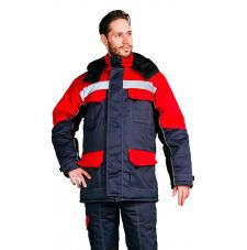 """Костюм мужской """"Зимник"""" зимний куртка, п/к темно-серый с красным"""