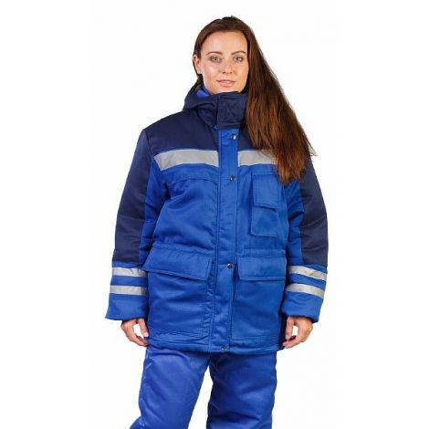"""Костюм женский """"Сибиряк"""" зимний куртка, брюки васильковый с темно-синими и СОП"""