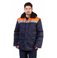 """Куртка мужская """"Патриот"""" зимняя с мех. воротником т-синяя с оранжевым"""