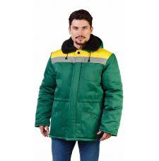 """Куртка мужская """"Патриот"""" зимняя с мех. воротником т-зелёная с желтым"""
