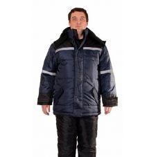 """Куртка мужская """"Арктика"""" зимняя т-синяя с черным и с СОП, тк. Оксфорд"""