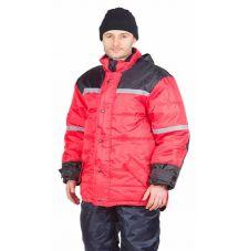"""Куртка мужская """"Арктика"""" зимняя красная с черным и с СОП, тк. Оксфорд"""