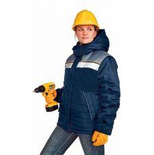 """Куртка женская """"Рейс1"""" зимняя т-синяя с серым"""