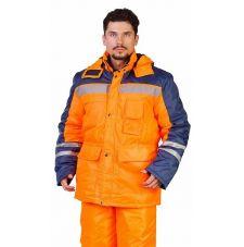 """Костюм мужской сигнальный """"Сибиряк-Трасса"""" зимний куртка, брюки оранжевый с т.синим, 100% полиэфир"""