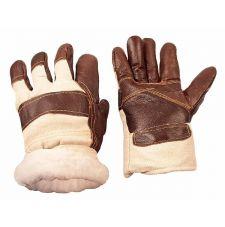 """Перчатки комбинированные ткань-кожа """"Brown"""" утепленные иск. мех"""