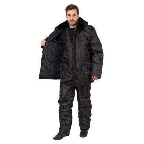 """Костюм мужской """"Безопасник"""" зимний куртка, п/к черный тк. Оксфорд"""